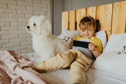little boy use his phone and play with his dog in the bed