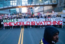 MINNEAPOLIS, MN - APRIL 19: Protesters march around downtown Minneapolis near the courthouse calling...