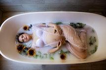 Milk bath maternity shoots are very popular.