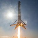 """CAPE CANAVERAL, FL - APRIL 8: In this handout provided by the National Aeronautics and Space Administration (NASA), SpaceX's Falcon 9 rocket makes its first successful upright landing on the """"Of Course I Still Love You"""" droneship on April 8, 2016 some 200 miles off shore in the Atlantic Ocean after launching from Cape Canaveral, Florida. (Photo by NASA via Getty Images)"""