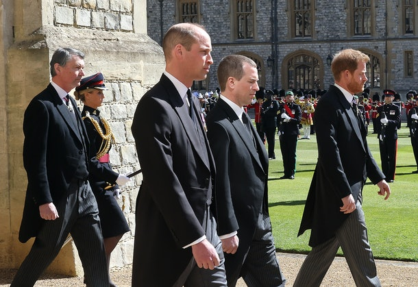 WINDSOR, ENGLAND - APRIL 17: Vice-Admiral Sir Timothy Laurence, Prince William, Duke of Cambridge, Peter Phillips, Prince Harry, Duke of Sussex follow Prince Philip, Duke of Edinburgh's coffin during the Ceremonial Procession during the funeral of Prince Philip, Duke of Edinburgh at Windsor Castle on April 17, 2021 in Windsor, England. Prince Philip of Greece and Denmark was born 10 June 1921, in Greece. He served in the British Royal Navy and fought in WWII. He married the then Princess Elizabeth on 20 November 1947 and was created Duke of Edinburgh, Earl of Merioneth, and Baron Greenwich by King VI. He served as Prince Consort to Queen Elizabeth II until his death on April 9 2021, months short of his 100th birthday. His funeral takes place today at Windsor Castle with only 30 guests invited due to Coronavirus pandemic restrictions. (Photo by Chris Jackson/Getty Images   )