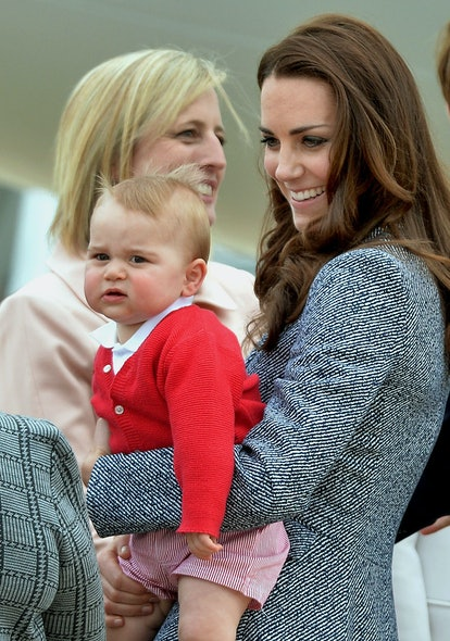 The Duke and Duchess of Cambridge and Prince George depart Canberra on the Royal Australian Air Force aircraft to transfer to an international commercial flight to London during the eighteenth day of their official tour to New Zealand and Australia.   (Photo by Anthony Devlin/PA Images via Getty Images)