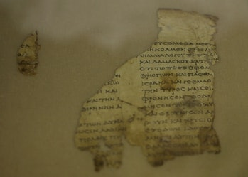 JERUSALEM, March 16, 2021 -- Fragments of the new discovered Dead Sea Scroll are seen in a lab in the Israel Museum in Jerusalem on March 16, 2021. Israeli archaeologists have discovered dozens of fragments of a biblical scroll written in Greek in the Cave of Horror near the Dead Sea. (Photo by Muammar Awad/Xinhua via Getty) (Xinhua/Muammar Awad via Getty Images)
