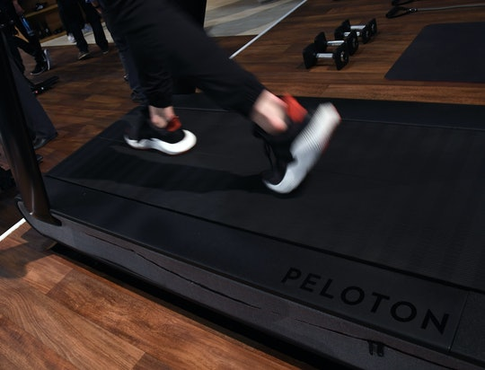 A detail shot shows the running deck of a Peloton Tread treadmill during CES 2018 at the Las Vegas C...