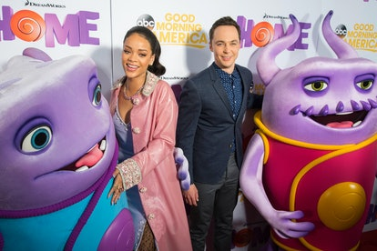 """PLANO, TX - MARCH 17:  Rihanna and Jim Parsons pose for a photo before a screening of """"Home"""" at Cinemark West Plano on March 17, 2015 in Plano, Texas.  (Photo by Cooper Neill/Getty Images)"""
