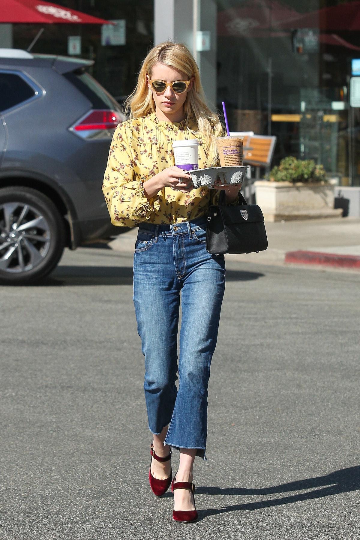 LOS ANGELES, CA - OCTOBER 19: Emma Roberts is seen on October 19, 2016 in Los Angeles, California.  ...