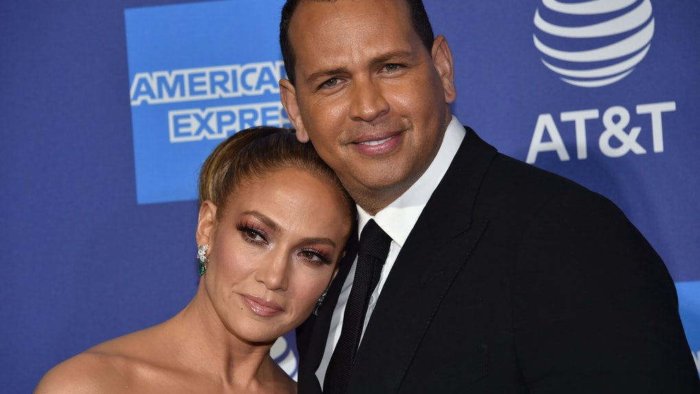 US actress Jennifer Lopez (L) and partner US former baseball player Alex Rodriguez arrive for the 31st Annual Palm Springs International Film Festival (PSIFF) Awards Gala at the Convention Center in Palm Springs, California on January 2, 2020. (Photo by Chris Delmas / AFP) (Photo by CHRIS DELMAS/AFP via Getty Images)