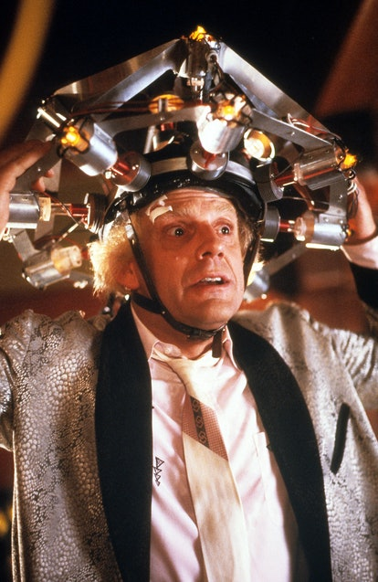 Christopher Lloyd wearing concoction on his head in a scene from the film 'Back To The Future', 1985. (Photo by Universal/Getty Images)