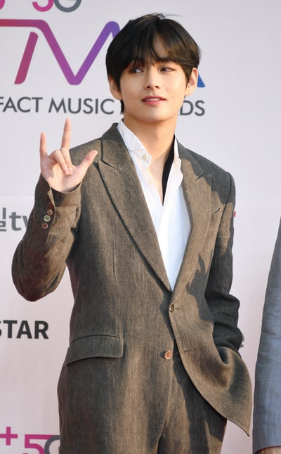 INCHEON, SOUTH KOREA – APRIL 24 : Kim Tae-Hyung member of BTS attends 'The Fact Music Awards' held at Namdong Gymnasium in southeastern Incheon on April 24, 2019 in Incheon, South Korea.(Photo by The Chosunilbo JNS/Imazins via Getty Images)