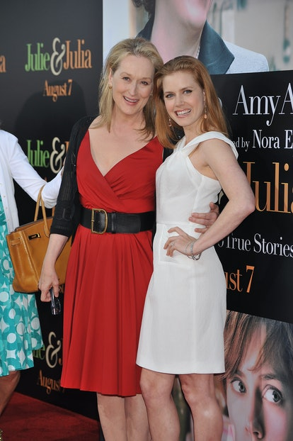 """Actress Meryl Streep and Amy Adams arrive at Columbia Pictures' special screening of """"Julie & Julia"""" held at Mann Village Theater in Westwood. (Photo by Frank Trapper/Corbis via Getty Images)"""