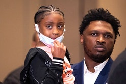 George Floyd's 6-year-old daughter Gianna Floyd looks on during a press conference following the verdict in the trial of former police officer Derek Chauvin in Minneapolis, Minnesota on April 20, 2021. - Sacked police officer Derek Chauvin was convicted of murder and manslaughter on april 20 in the death of African-American George Floyd in a case that roiled the United States for almost a year, laying bare deep racial divisions. (Photo by Kerem Yucel / AFP) (Photo by KEREM YUCEL/AFP via Getty Images)