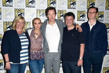 """SAN DIEGO, CA - JULY 24:  (L-R) Producer Sue Vertue, actors Amanda Abbington and Benedict Cumberbatch, writer/producer Steven Moffat, and actor/writer/producer Mark Gatiss attend the press call for """"Sherlock"""" during Comic-Con International 2016 at Hilton Bayfront on July 24, 2016 in San Diego, California.  (Photo by Frazer Harrison/Getty Images)"""