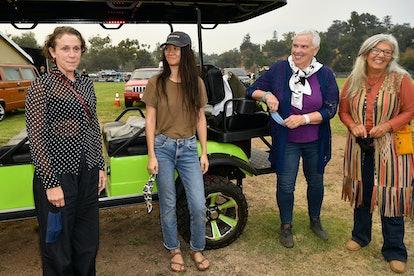 PASADENA, CALIFORNIA - SEPTEMBER 11: (L-R )Frances McDormand, Chloé Zhao, Swankie, and Linda May att...