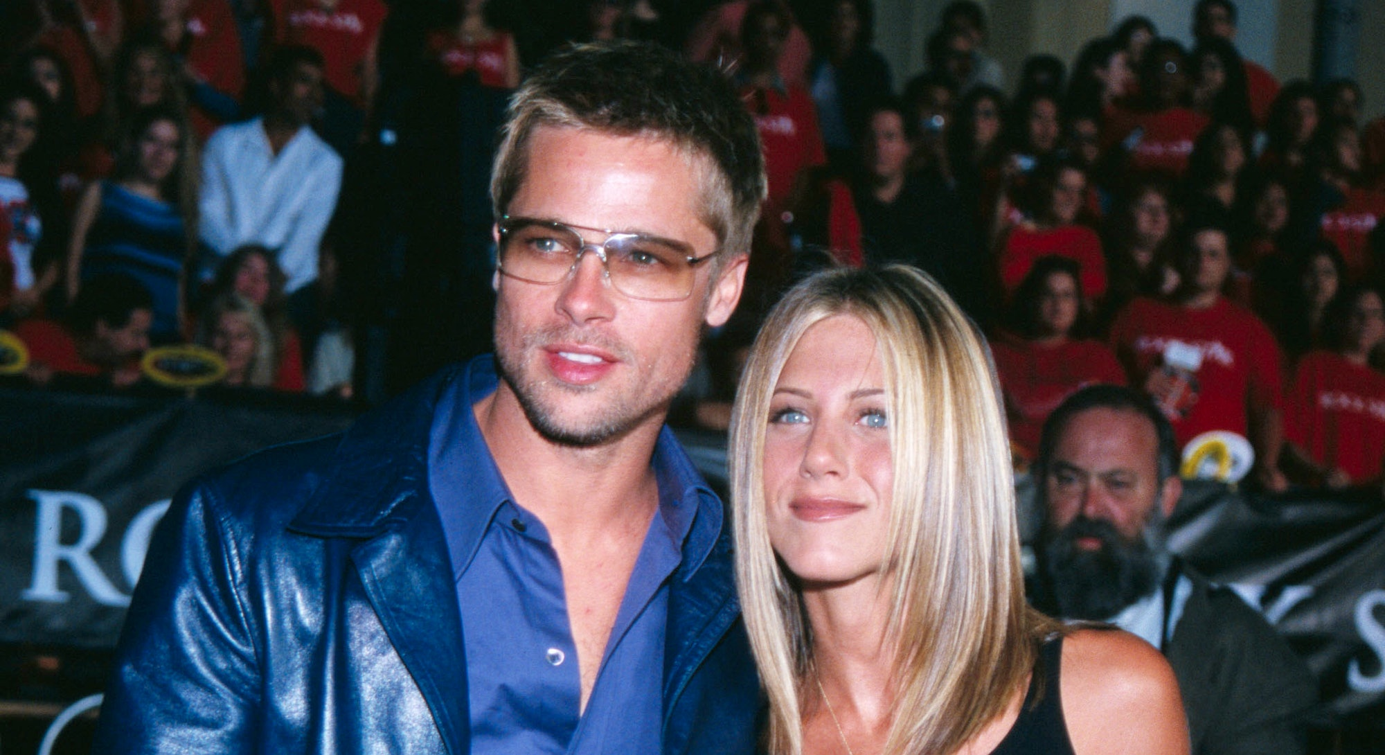 "Brad Pitt and Jennifer Aniston (co-star of film) arrive at the premiere of ""Rock Star."" (Photo by Jody Cortes/Sygma/Sygma via Getty Images)"