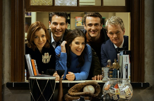 """CBS's new comedy, """"How I Met Your Mother,"""" is one of this season's hits and for CBS a breakthrough into comedy aimed at younger people, a la Friends–style. The half–hour sitcom is taped on a stage with four cameras like a regular sitcom – but without the audience, & with many more takes, like dramas. Thereason for that is that the scripts, which are told in flashback, are much longer than regular sitcom scripts & the storytelling is a big part of the show, which can't be done in front of an audience. Because of their isolated tapings, the cast has grown very close and critics have said, this could be the next Friends cast in terms of togetherness and chemistry. – The cast, photographed on the set on 11/9/05 is: Alyson Hannigan, Josh Radnor, Cobie Smulders, Jason Segal, and Neil Patrick Harris.  (Photo by Gary Friedman/Los Angeles Times via Getty Images)"""