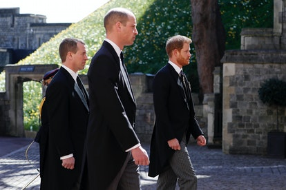 WINDSOR, ENGLAND - APRIL 17: Peter Phillips, Prince William, Duke of Cambridge and  Prince Harry, Duke of Sussex during the Ceremonial Procession during the funeral of Prince Philip, Duke of Edinburgh at Windsor Castle on April 17, 2021 in Windsor, England. Prince Philip of Greece and Denmark was born 10 June 1921, in Greece. He served in the British Royal Navy and fought in WWII. He married the then Princess Elizabeth on 20 November 1947 and was created Duke of Edinburgh, Earl of Merioneth, and Baron Greenwich by King VI. He served as Prince Consort to Queen Elizabeth II until his death on April 9 2021, months short of his 100th birthday. His funeral takes place today at Windsor Castle with only 30 guests invited due to Coronavirus pandemic restrictions. (Photo by Alastair Grant/WPA Pool/Getty Images)