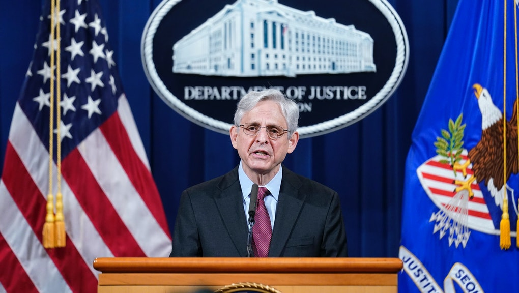 WASHINGTON, DC - APRIL 21: U.S. Attorney General Merrick Garland speaks about a jury's verdict in the case against former Minneapolis Police Officer Derek Chauvin in the death of George Floyd, at the Department of Justice on April 21, 2021 in Washington, DC. Garland announced a civil investigation into Minneapolis, Minnesota policing practices after Chauvin was found guilty on Tuesday of all three charges against him in the murder of Floyd last May. (Photo by Andrew Harnik-Pool/Getty Images)