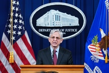WASHINGTON, DC - APRIL 21: U.S. Attorney General Merrick Garland speaks about a jury's verdict in th...