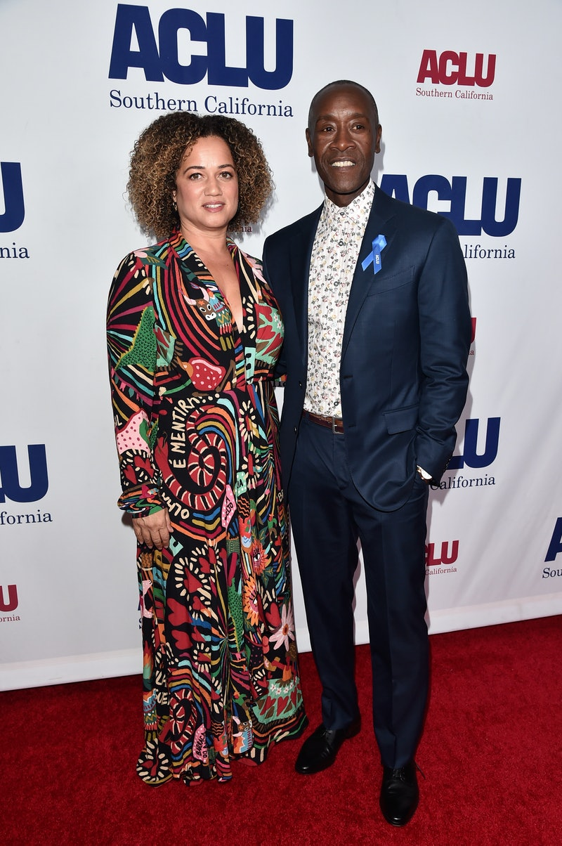BEVERLY HILLS, CALIFORNIA - NOVEMBER 17: (L-R) Bridgid Coulter and Don Cheadle attend ACLU SoCal's A...
