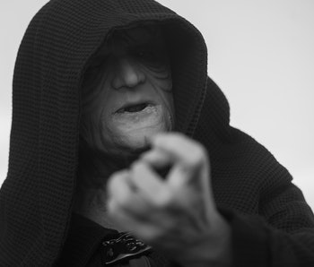"MALAGA, SPAIN - 2018/05/05: A member of the 501st Legion Spanish Garrison dressed as ""Darth Sidious"" from the movie saga Star Wars, performs during a charity parade in favour of bone marrow donation, organized by the Luis Olivares foundation. Hundreds of volunteers from the 501st Legion Spanish Garrison, an association that promote the hobby for the movie Star Wars and contribute in solidarity causes, took the main streets in downtown Málaga with the objective of encourage the bone marrow donation and the fight against cancer. (Photo by Jesus Merida/SOPA Images/LightRocket via Getty Images)"