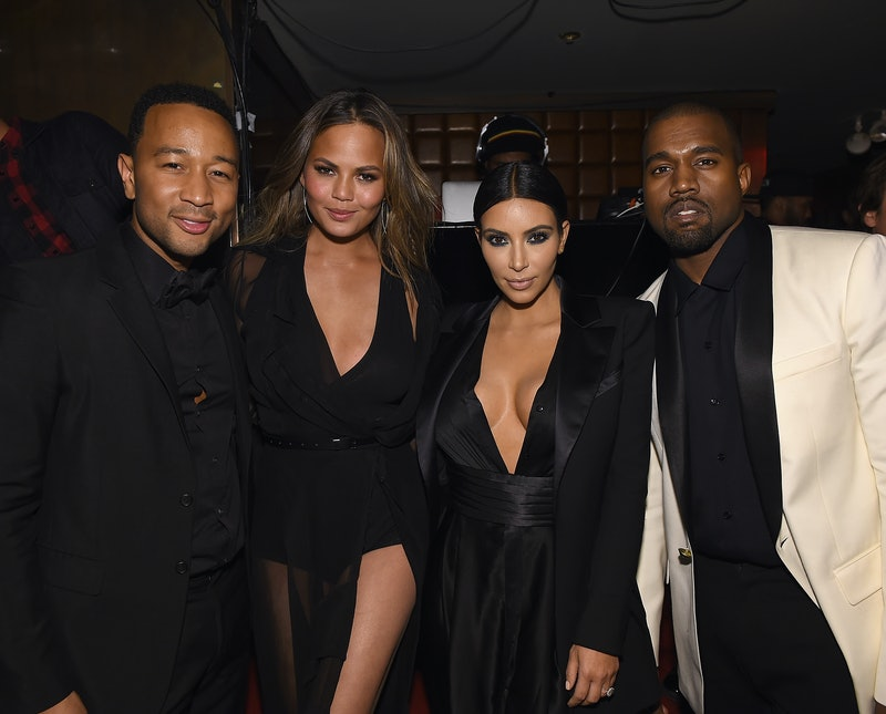 """NEW YORK, NY - JANUARY 08: (EXCLUSIVE COVERAGE)  John Legend, Chrissy Teigen,  Kim Kardashian and Kanye West attend John Legend Celebrates His Birthday And The 10th Anniversary Of His Debut Album """"Get Lifted"""" at CATCH NYC on January 8, 2015 in New York City.  (Photo by Dimitrios Kambouris/Getty Images for EMM Group)"""