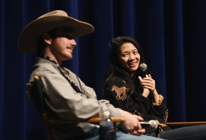 BEVERLY HILLS, CA - APRIL 11:  Actor Brady Jandreau (L) and director Chloe Zhao attend a special scr...