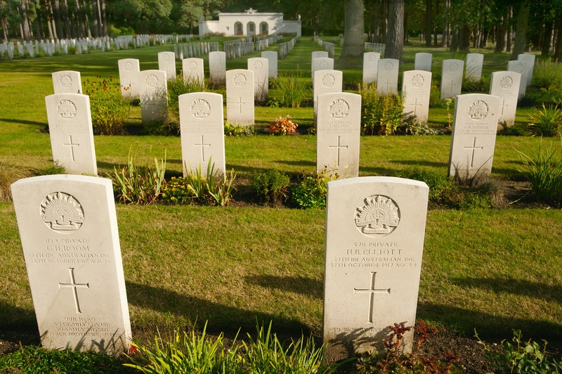 Commonwealth War Graves Commission headstones, mark this section of Australian war graves, at Brookwood Military Cemetery in Surrey. It is the largest Commonwealth War Graves Cemetery in the UK.