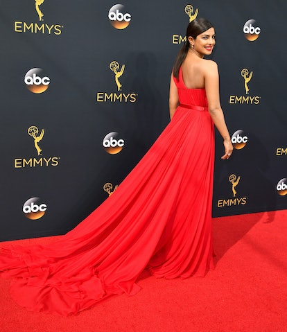 One of Priyanka Chopra Jonas' favorite hair moments is the sleek ponytail she wore at the 68th Annual Primetime Emmy Awards at Microsoft Theater on September 18, 2016 in Los Angeles, California.  (Photo by Steve Granitz/WireImage)