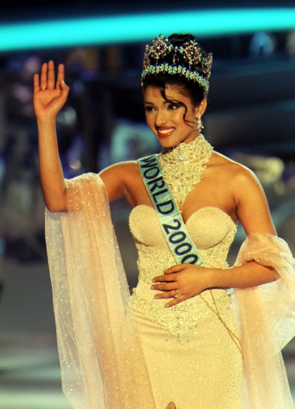 The winner of Miss World 2000, Miss India, Priyanka Chopra, 18, during the Miss World contest at The Millennium Dome in Greenwich.   (Photo by Michael Crabtree - PA Images/PA Images via Getty Images)