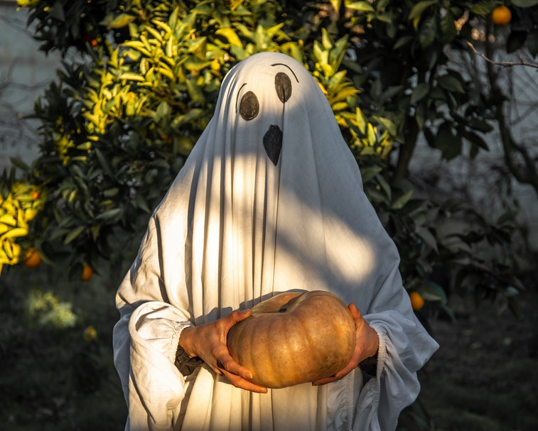 A portrait of a 40 year old woman dressed as a ghost in a white sheet standing outside in the garden near an orange tree with a pumpkin in her hands at sunset