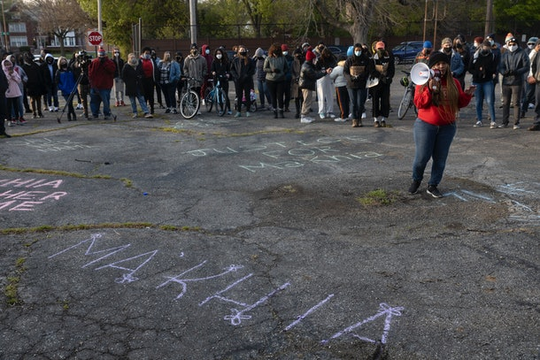 COLUMBUS, OH - APRIL 21:  Hana Abdur-Rahim presides over a vigil for MaKhia Bryant on April 21, 2021 in Columbus, Ohio. The 16-year-old Black girl was shot and killed by police who had been called to the scene of a disturbance.  (Photo by Stephen Zenner/Getty Images)