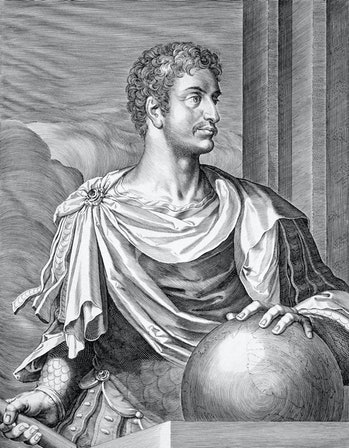 Augustus, Roman Emperor, (c1590-1629). Gaius Julius Caesar Octavianus (63 BC-14 AD) became one of a triumvirate of rulers after the death in 44 BC of Julius Caesar, his great-uncle, whose dictatorship had brought an end to the Roman republic. He became sole ruler in 31 BC after defeating Mark Anthony at the Battle of Actium, and in 27 BC proclaimed himself Emperor, adopting the title Caesar Augustus. Octavian's rule, which lasted until 14 AD, ended a century civil strife and was a period of peace and prosperity in which Rome attained the height of its imperial power. Artist Aegidius Sadeler II. (Photo by Historica Graphica Collection/Heritage Images/Getty Images)