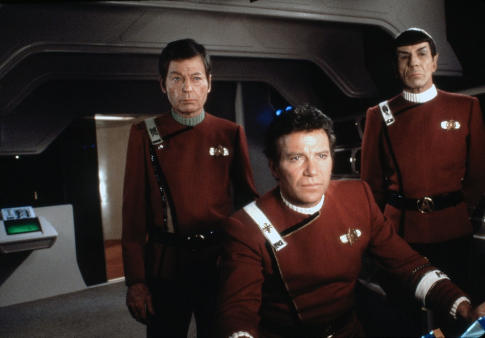 American actors DeForest Kelley, Leonard Nimoy and Canadian William Shatner on the set of Star Trek: The Wrath of Khan, directed by Nicholas Meyer. (Photo by Paramount Pictures/Sunset Boulevard/Corbis via Getty Images)