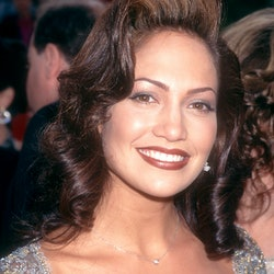 A total '90s look: Actress and singer Jennifer Lopez attends The 69th Annual Academy Awards - Arrivals on March 24, 1997 at the Shrine Auditorium in Los Angeles, California.   (Photo by Ron Davis/Getty Images)
