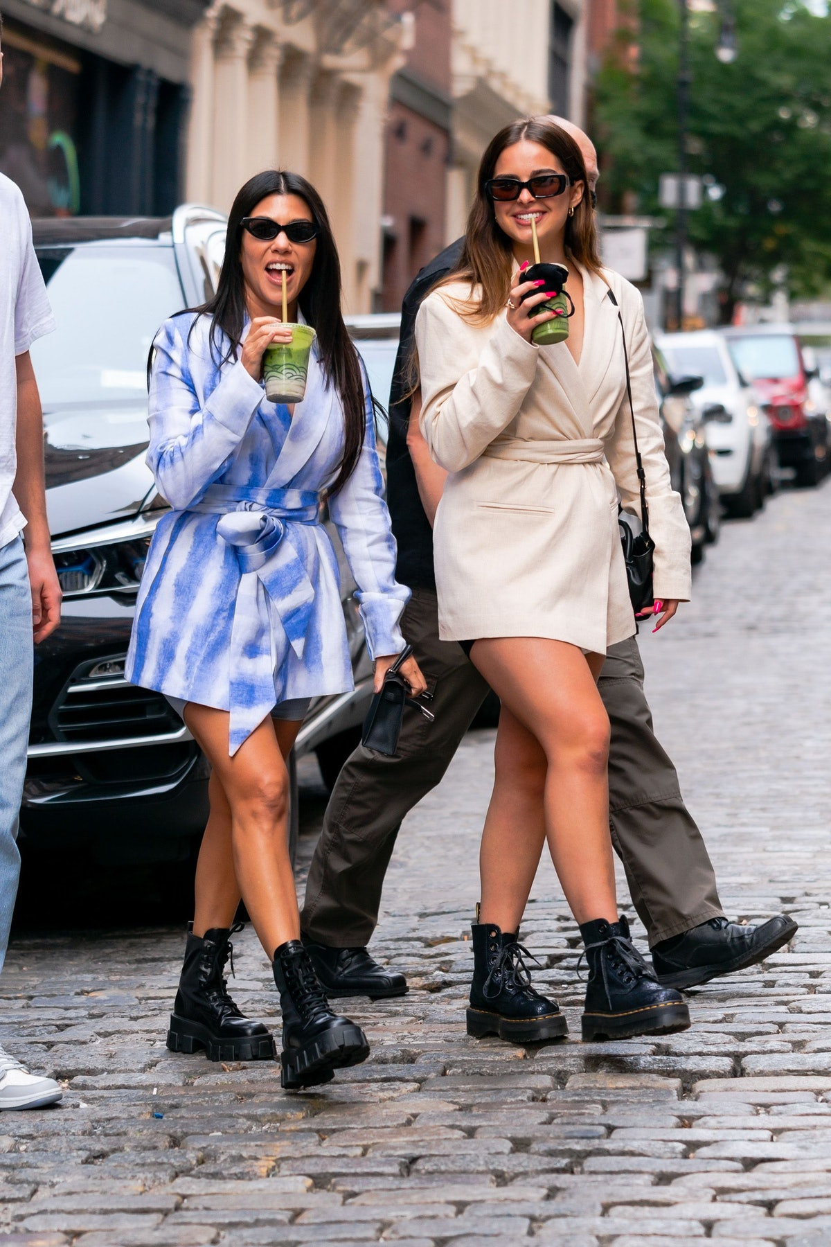 NEW YORK, NEW YORK - OCTOBER 10: Kourtney Kardashian (L) and Addison Rae are seen in SoHo on October 10, 2020 in New York City. (Photo by Gotham/GC Images)