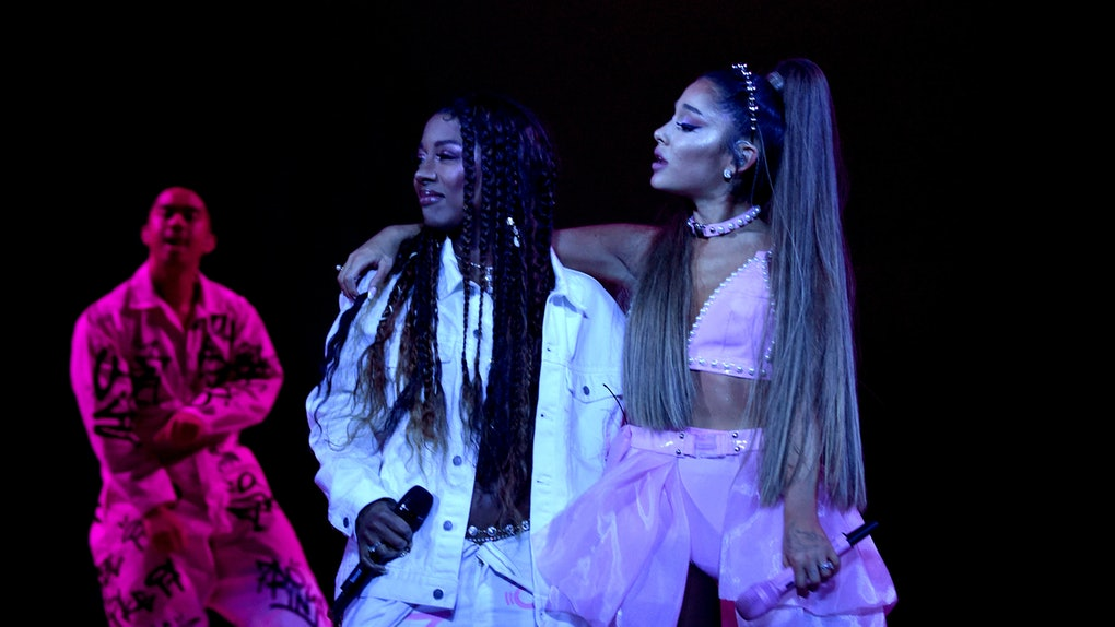 LOS ANGELES, CALIFORNIA - MAY 07: Victoria Monet (L) and Ariana Grande perform onstage during Ariana Grande Sweetener World Tour at Staples Center on May 07, 2019 in Los Angeles, California. (Photo by Kevin Mazur/Getty Images for AG)