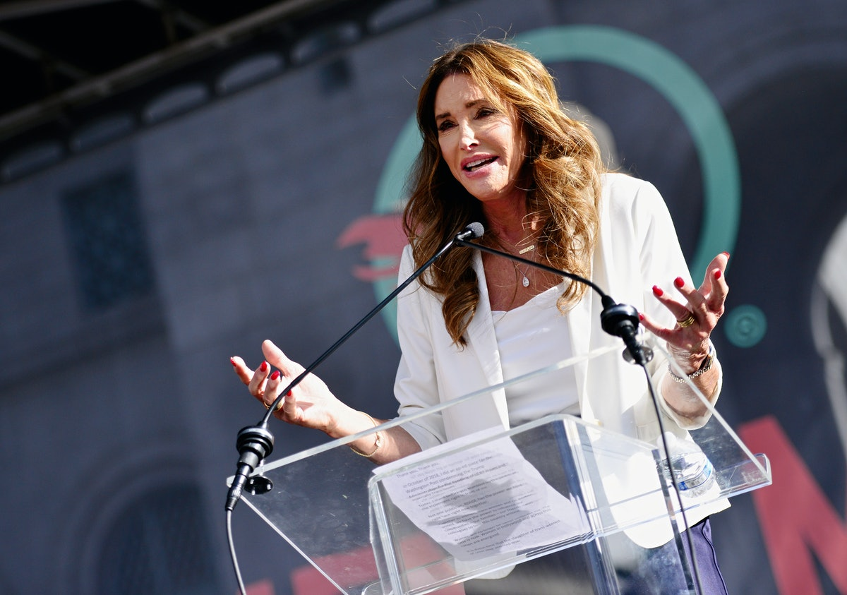 LOS ANGELES, CALIFORNIA - JANUARY 18:  Caitlyn Jenner speaks at the 4th annual Women's March LA: Women Rising at Pershing Square on January 18, 2020 in Los Angeles, California. (Photo by Chelsea Guglielmino/Getty Images)