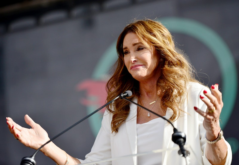 LOS ANGELES, CALIFORNIA - JANUARY 18:  Caitlyn Jenner speaks at the 4th annual Women's March LA: Wom...
