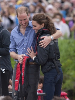 The Duke And Duchess Of Cambridge Arrive On Shore After Rowing Dragon Boats Across Dalvay Lake In Charlottetown, Prince Edward Island, Canada. (Photo by Julian Parker/UK Press via Getty Images)