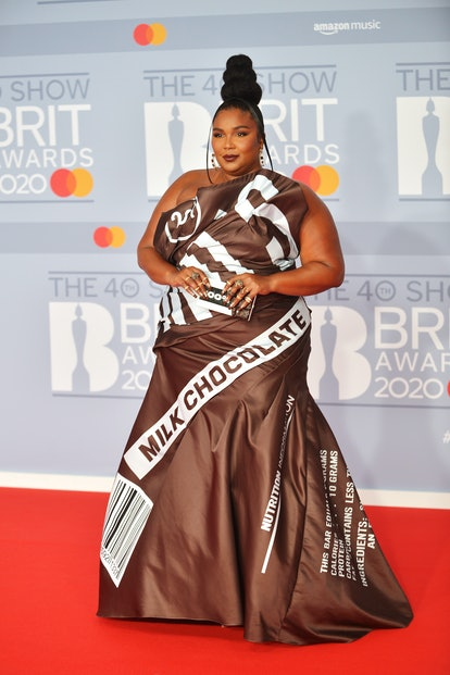 LONDON, ENGLAND - FEBRUARY 18: (EDITORIAL USE ONLY)  Lizzo attends The BRIT Awards 2020 at The O2 Arena on February 18, 2020 in London, England. (Photo by Jim Dyson/Redferns)