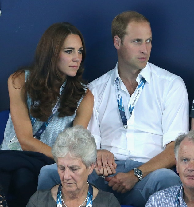 GLASGOW, SCOTLAND - JULY 28:  Catherine, Duchess of Cambridge and Prince William, Duke of Cambridge hold hands as they watch the swimming at Tollcross Swimming Centre during the 20th Commonwealth games on July 28, 2014 in Glasgow, Scotland.  (Photo by Chris Jackson/Getty Images)