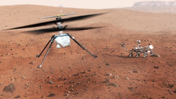Artwork of NASA's Mars 2020 mission. The mission consists of a 3-metre-long rover called Perseverance, and a smaller 'rotorcraft' (1.2 metres in diameter) called Ingenuity. The helicopter is expected to fly five missions during the first 30 days of the mission, scouting locations for the rover. It is the first attempt at flight on another planet. The rover, meanwhile, will search for past signs of life in the red Martian soil, limiting its search to the bed of an ancient lake (now a crater called Jezero) and will prepare samples left on the planet's surface for later recovery and analysis on Earth.