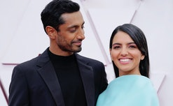 LOS ANGELES, CALIFORNIA – APRIL 25: (L-R) Riz Ahmed and Fatima Farheen Mirza attend the 93rd Annual Academy Awards at Union Station on April 25, 2021 in Los Angeles, California. (Photo by Chris Pizzelo-Pool/Getty Images)