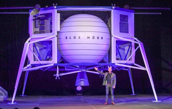 """WASHINGTON, DC - MAY 9:  Jeff Bezos, founder of Amazon, Blue Origin and owner of The Washington Post via Getty Images,  introduces their newly developed lunar lander """"Blue Moon"""" and gives an update on Blue Origin and the  progress and vision of going to space to benefit Earth at the Walter E. Washington Convention Center. (Photo by Jonathan Newton / The Washington Post via Getty Images)"""