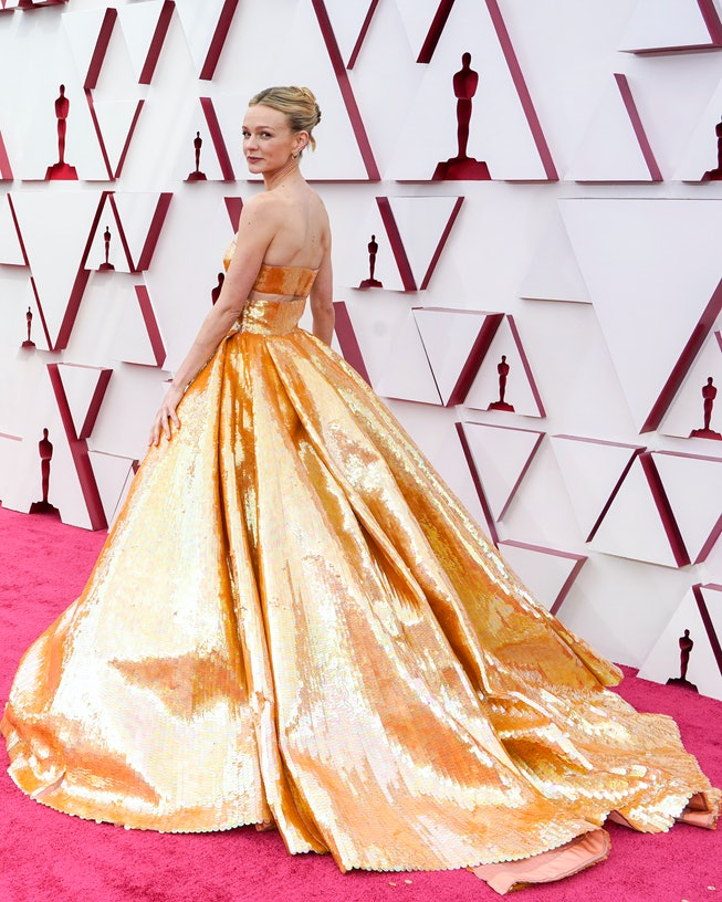 LOS ANGELES, CALIFORNIA – APRIL 25: Carey Mulligan attends the 93rd Annual Academy Awards at Union Station on April 25, 2021 in Los Angeles, California. (Photo by Chris Pizzelo-Pool/Getty Images)