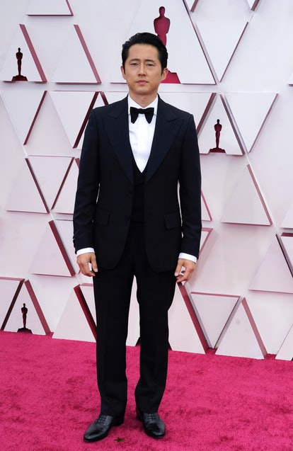 LOS ANGELES, CALIFORNIA – APRIL 25: Steven Yeun attends the 93rd Annual Academy Awards at Union Station on April 25, 2021 in Los Angeles, California. (Photo by Chris Pizzelo-Pool/Getty Images)