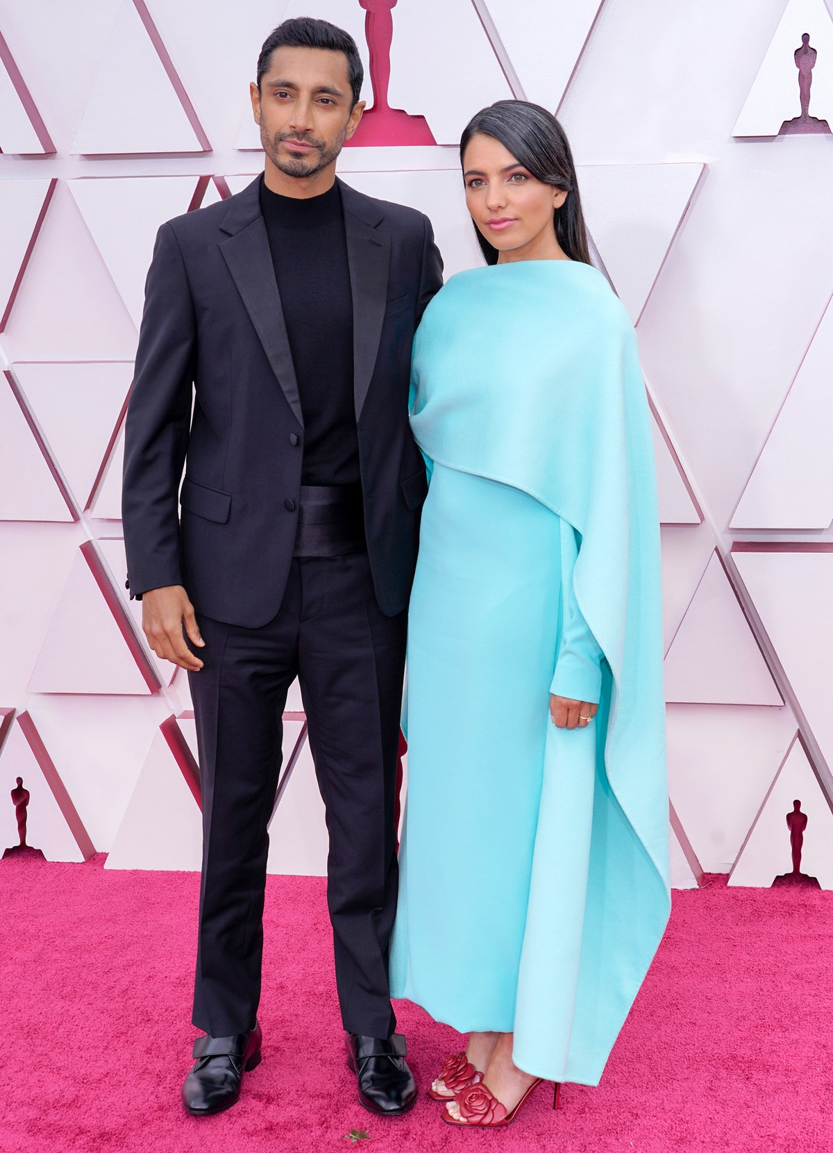 LOS ANGELES, CALIFORNIA – APRIL 25: (L-R) Riz Ahmed and Fatima Farheen Mirza attend the 93rd Annual Academy Awards at Union Station on April 25, 2021 in Los Angeles, California. (Photo by Chris Pizzello-Pool/Getty Images)