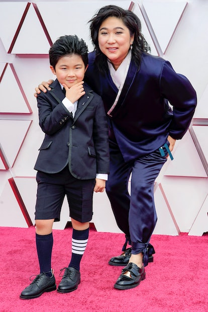 LOS ANGELES, CALIFORNIA – APRIL 25: (L-R) Alan S. Kim and Vicky Kim attend the 93rd Annual Academy Awards at Union Station on April 25, 2021 in Los Angeles, California. (Photo by Chris Pizzelo-Pool/Getty Images)