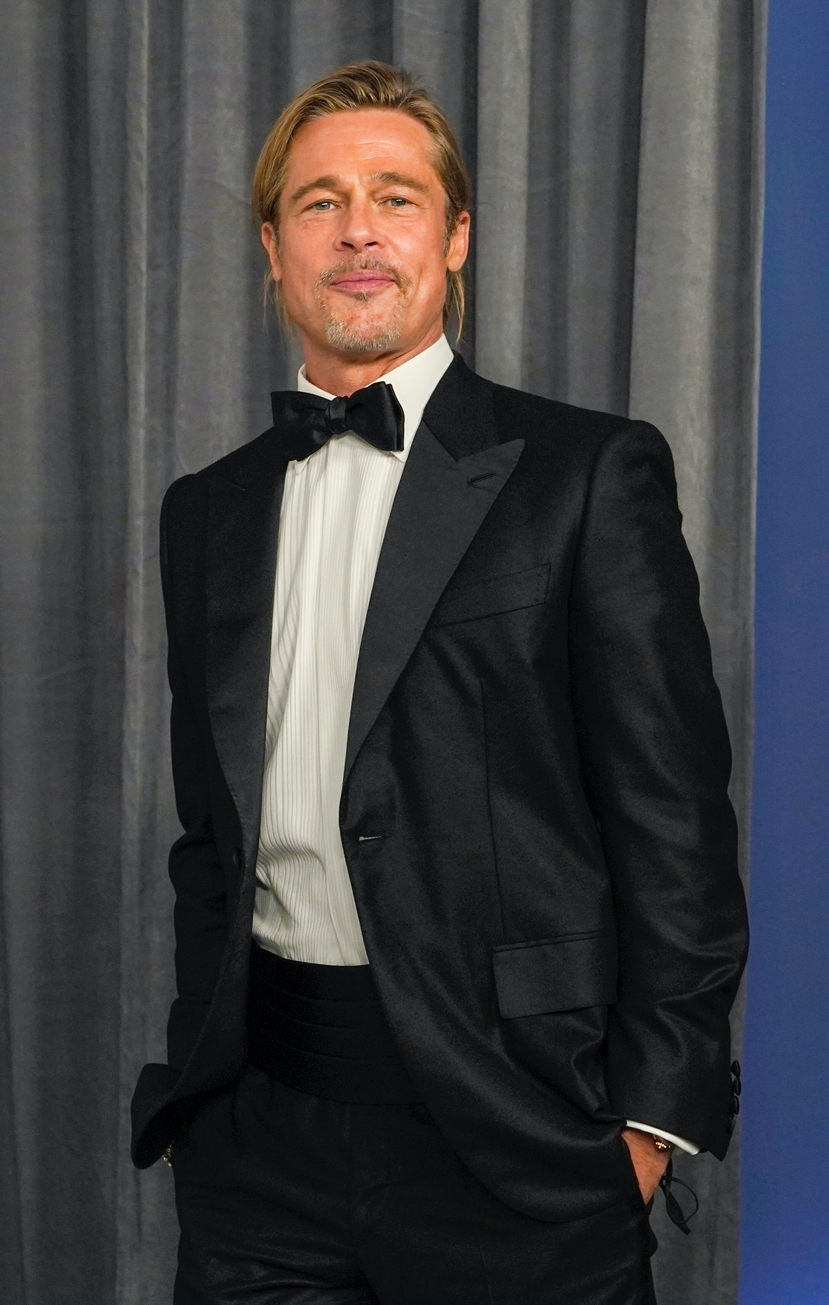 LOS ANGELES, CALIFORNIA - APRIL 25: Brad Pitt poses in the press room at the Oscars on Sunday, April 25, 2021, at Union Station in Los Angeles. (Photo by Chris Pizzello-Pool/Getty Images)