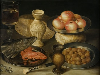 Still life with Siegburg stoneware jug, glass, knife, two loaves, three pewter plates with hazelnuts, seafood and apples, Early 17th cen.. Private Collection. Artist Flegel, Georg (1566-1638). (Photo by Fine Art Images/Heritage Images via Getty Images)